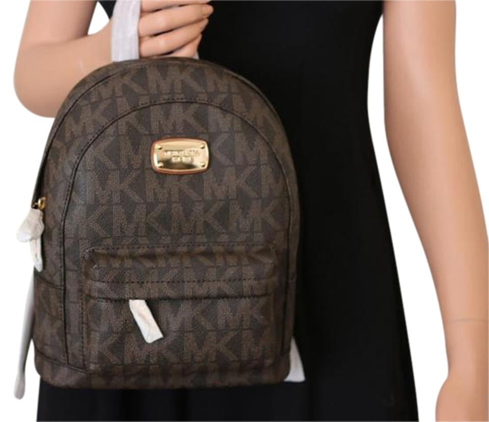 c6bd05987d02 Michael Kors Jet Set Xs Extra Small Signature Brown Leather Backpack ...