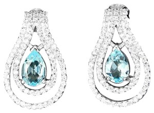 Other Elegant Natural Sky Blue and White Topaz Earrings