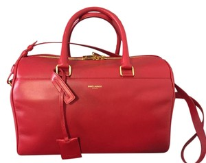 Saint Laurent Leather Duffle Satchel in Red