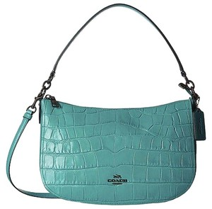 Coach 37733 Chelsea Turquoise Croc Leather Crossbody Satchel in Blue