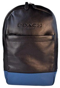 Coach Balck Blue Charles Leather Backpack