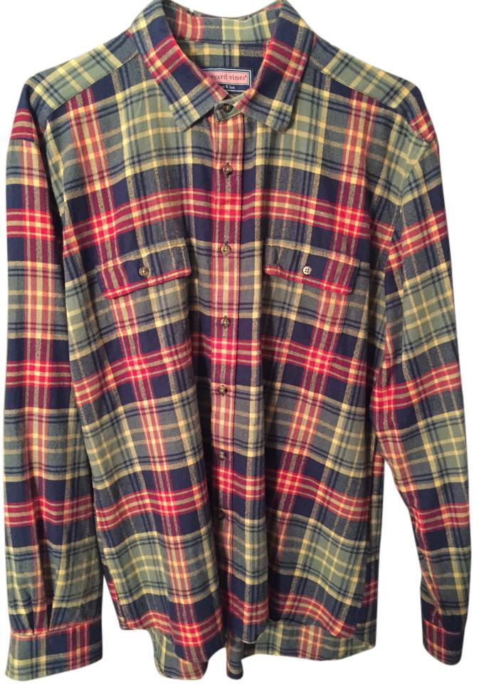 Vineyard vines green red mens plaid flannel button down top size 18 xl plus 0x tradesy for Mens red button up dress shirt