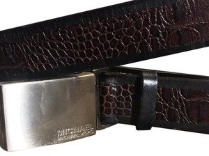 MICHAEL Michael Kors MICHAEL Michael Kors Croc Embossed Black And Brown Leather Belt!