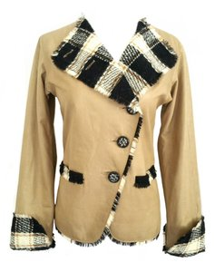 Chanel Leather 2007 Plaid Tweed Tan Leather Jacket