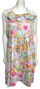 Liberty of London short dress multi New Floral Rainbow Halter Ruffle Pink Yellow Blue Belted Xl Target Green on Tradesy