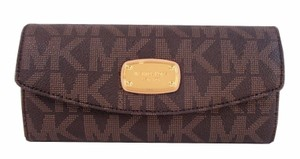 Michael Kors Signature Slim Flap Wallet Clutch Bag NWT Brown Logo PVC