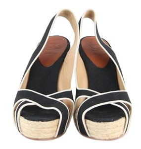 Christian Louboutin Black Canvas Espadrille Wedges