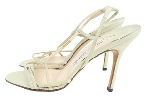 Manolo Blahnik Beige Leather Strappy Slingaback Sandals