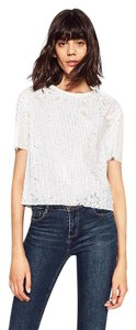 Zara Sequins Evening Holiday Shimmer Glam Top White