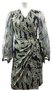 Diane von Furstenberg Black Beige Metallic Wrap Dress