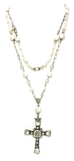 Kinley Sterling silver Rosary Cross Crystal Kinley Necklace in Pearls Image 2
