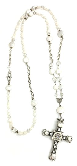 Kinley Sterling silver Rosary Cross Crystal Kinley Necklace in Pearls Image 5
