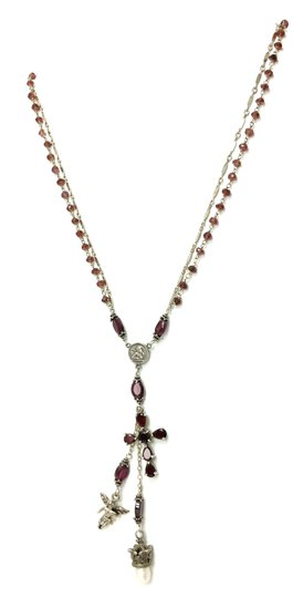 Kinley Sterling silver and Garnet Cross Kinley Necklace Image 1