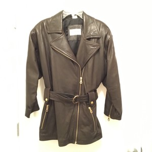 Andrew Marc Leather Comfortable Tie Waist Brown Motorcycle Dark Brown Leather Jacket