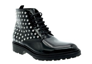 Saint Laurent Studded Ankle Military Black Boots