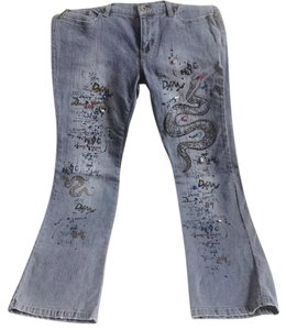 DKNY Brooklyn Embellished Snake Straight Leg Jeans-Medium Wash