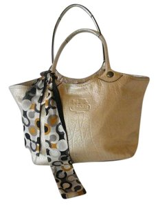 Coach Leather Signature Sash Tote in Metallic Platinum