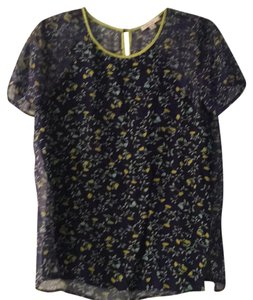 Ella Moss Top Blue, green, yellow flower print