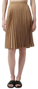 Topshop Suede Camel Pleated Skirt Dark beige