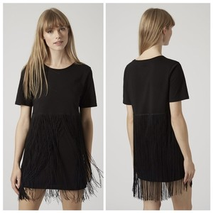 Topshop short dress black Fringe on Tradesy