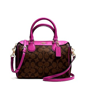 Coach F36689 Bennett Satchel in ruby pink gold