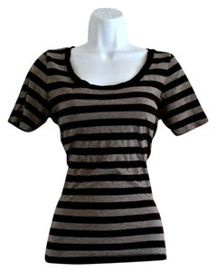 Aerie Stripes Soft Short Sleeve T Shirt Grey and Black