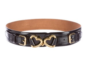 Moschino Black leather Moschino gold tone heart logo buckle belt S