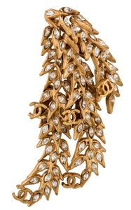 Chanel Gold-tone Chanel marquise crystals CC's branch brooch
