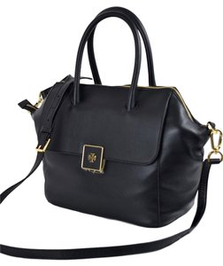 Tory Burch Pebbled Leather Crossbody Clara Front Flap Satchel in Black