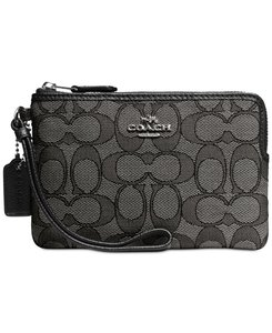 Coach Boxed Signature Wristlet in Black