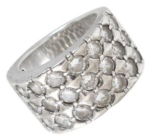 Other Sterling Silver Ring Wide Band with Multi Row Cubic Zirconia