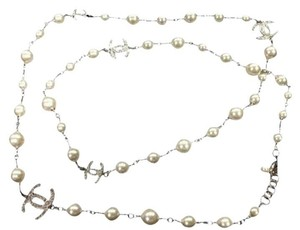 Chanel Pearl & Crystal CC Logo Necklace 2016 White Pearly Opera Length