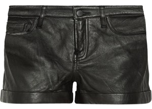 Theory Leather Short Cuffed Shorts black