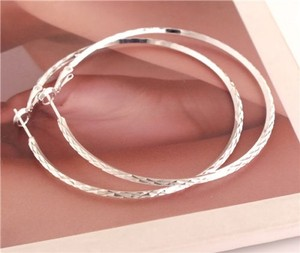 Silver Plated Large Hoop Earrings Free Shipping