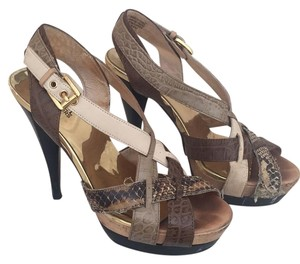 MICHAEL Michael Kors Leather Gold Caged Heels Multi neutral colors Platforms