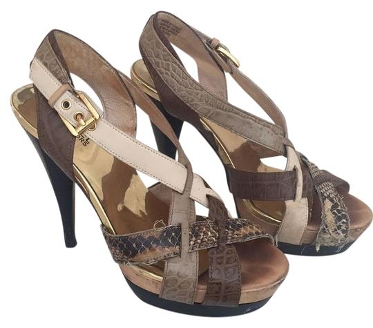MICHAEL Michael Kors Leather Gold Caged Heels Sandal Multi neutral colors Platforms Image 0