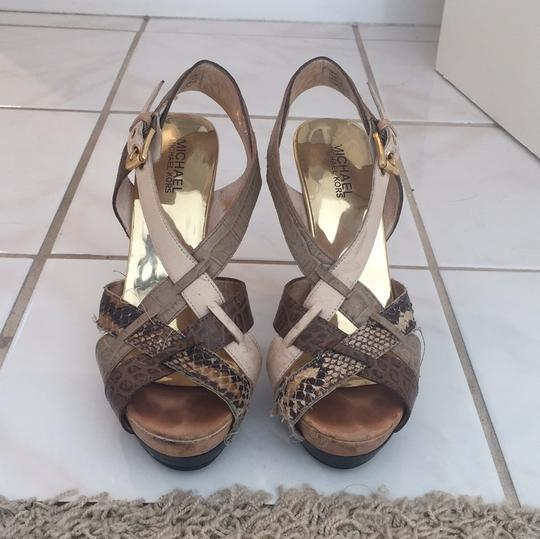 MICHAEL Michael Kors Leather Gold Caged Heels Sandal Multi neutral colors Platforms Image 1