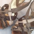 MICHAEL Michael Kors Leather Gold Caged Heels Sandal Multi neutral colors Platforms Image 5