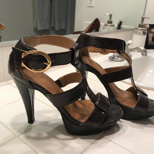 Chinese Laundry Caged Stiletto Gold Hardware Open Toe Dark purple, almost black Platforms Image 1