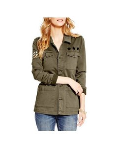 Jessica Simpson Military Vintage Patches Military Jacket