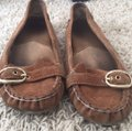 MICHAEL Michael Kors Suede Leather Moccasin Loafers Brown Flats Image 1