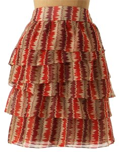 Anthropologie Tiered Crinkled Crepe Mini Skirt Rust