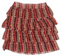 Anthropologie Tiered Crinkled Crepe Zigzagging Lined Ruffled Mini Skirt Rust Image 0