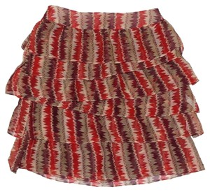 Anthropologie Tiered Crinkled Crepe Zigzagging Lined Ruffled Mini Skirt Rust