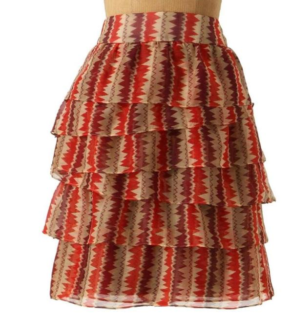 Anthropologie Tiered Crinkled Crepe Zigzagging Lined Ruffled Mini Skirt Rust Image 2