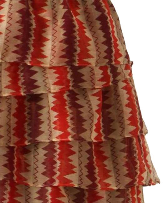 Anthropologie Tiered Crinkled Crepe Zigzagging Lined Ruffled Mini Skirt Rust Image 3