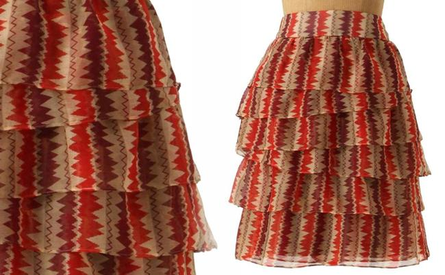 Anthropologie Tiered Crinkled Crepe Zigzagging Lined Ruffled Mini Skirt Rust Image 4