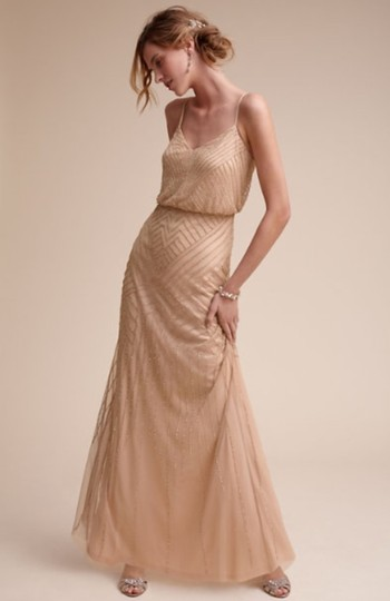 BHLDN Rose Gold Tulle and Beading Sophia By Adrianna Papell Formal Bridesmaid/Mob Dress Size 4 (S) Image 1
