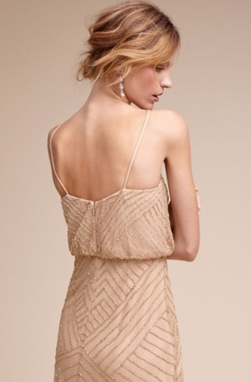 BHLDN Rose Gold Tulle and Beading Sophia By Adrianna Papell Formal Bridesmaid/Mob Dress Size 4 (S) Image 2