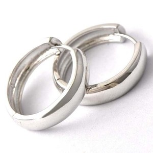 Thick White Gold Filled Plain Silver Hoop Earrings Free Shipping